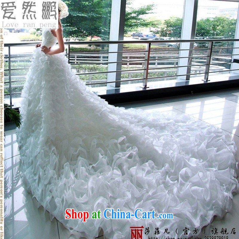 Love so Peng Han-Princess bride-tail wedding dresses Korean Spring Summer and Autumn marriage new 2015 white M pieced