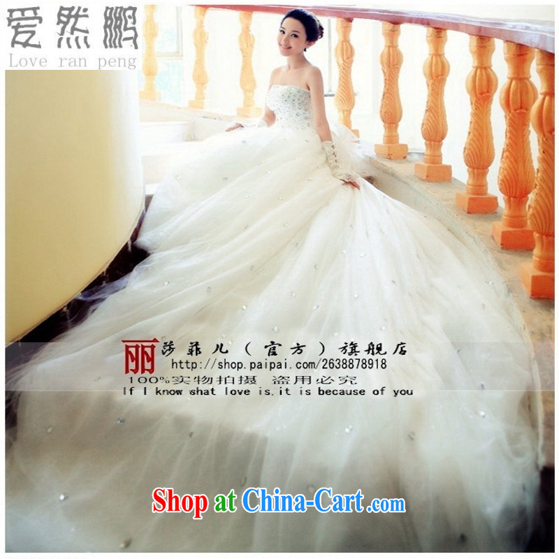 Love so-pang 2014 new, drag and drop the tail wedding Korean Princess Korean-style long-tail strap wedding 740 white customer size will not be returned.