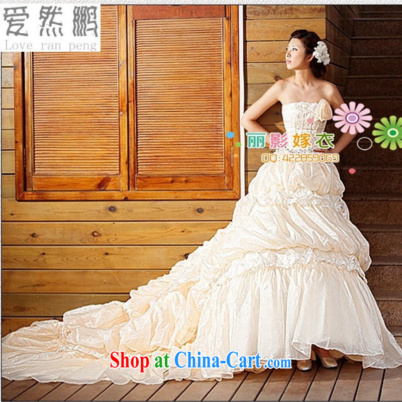 Love so Pang 9 roses Korean-style sweet wedding Korean Princess Mary Magdalene chest shaggy stars with drag and drop tail wedding dresses champagne customer size will not be returned.