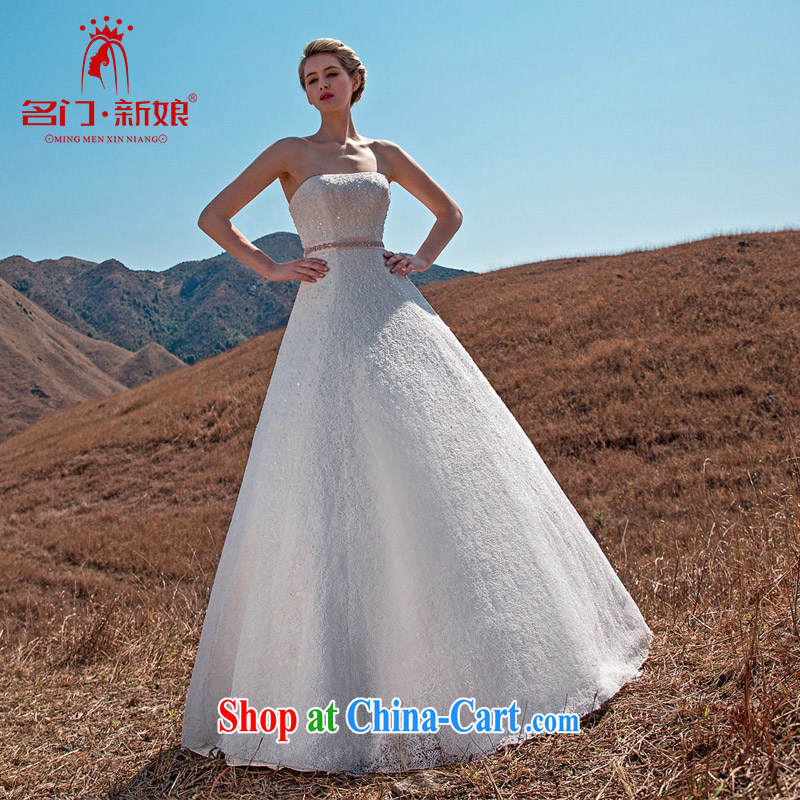 The bride's 2015 new retro graphics thin A type wedding lace retro wedding drill flash 575 white L