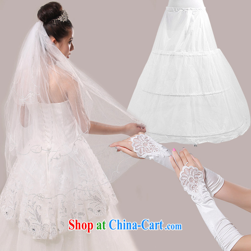 The United States and the marriage bridal accessories wedding wedding dresses accessories and yarn gloves skirt stays 3-Piece Z - 598 white