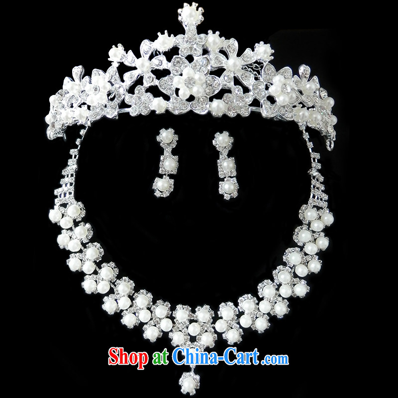 The US and the bride's head-dress 3-piece kit wedding dresses accessories necklaces earrings stylish water Drill Set Link marriage jewelry E 557