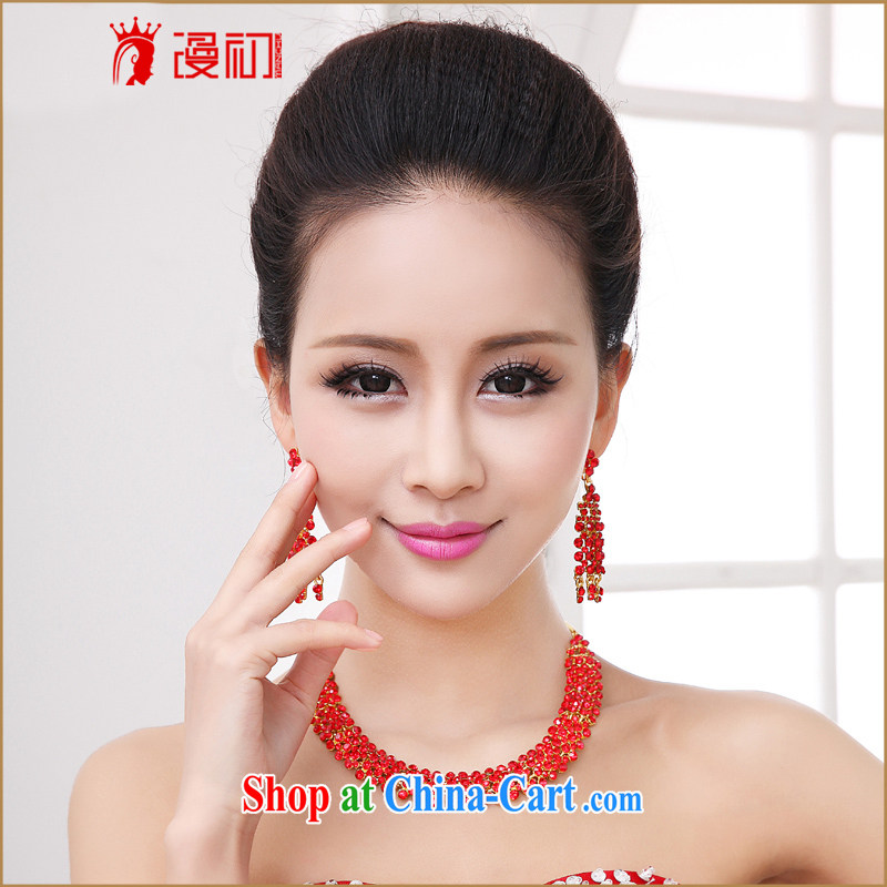 Early spread Korean bridal jewelry Kit red wedding dress wedding accessories bridal necklace water drilling female Kit red, diffuse, and shopping on the Internet