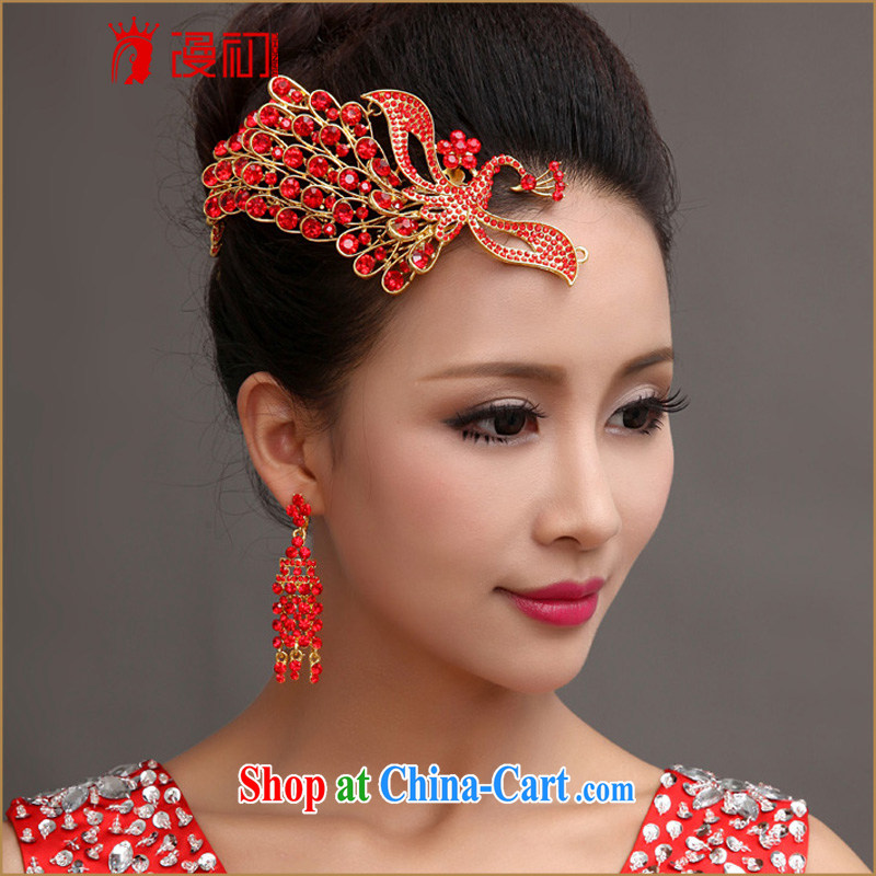 Early definition 2015 new jewelry married women Korean wedding accessories Phoenix water drilling Crown headdress Red Red