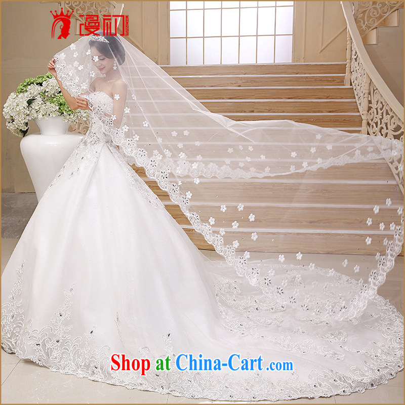 Early definition brides and legal Korean-style lace 3M head yarn drag and drop to high standard and legal water drilling, lace-tail luxury head yarn white