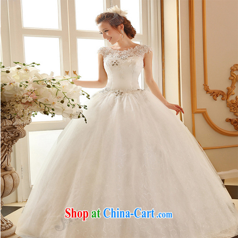 Qi wei wedding dresses new 2015 summer field shoulder wedding lace wedding with wedding band wedding, white Princess wedding ivory white XL