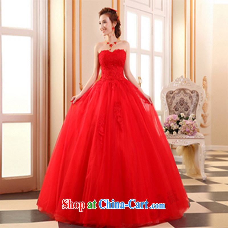 Qi wei summer wedding dresses new 2015 lace wedding bridal marriage wedding with wedding high waist bare chest wedding tied with red wedding red custom plus $50
