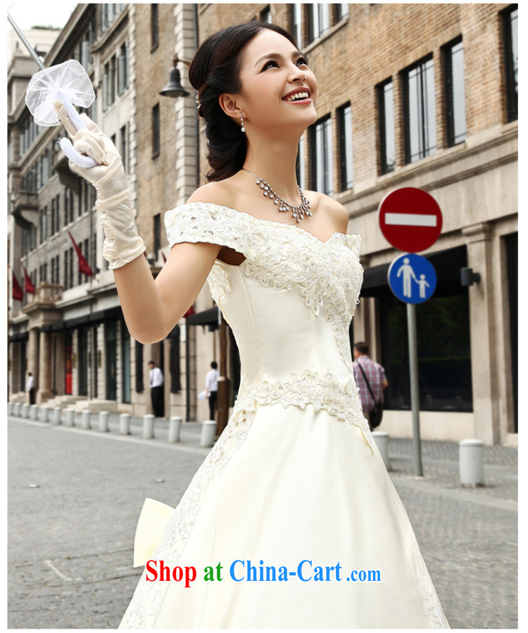 Qi wei summer 2015 new stylish Korean-style package shoulder wedding dresses ivory white satin wedding a shoulder Deluxe long-tail wedding dress girls ivory XL urgent contact Customer Service pictures, price, brand platters! Elections are good character, the national distribution, so why buy now enjoy more preferential! Health