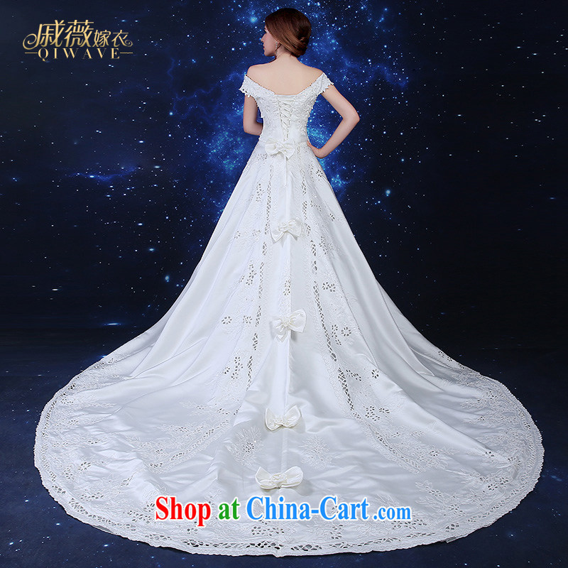 Qi wei summer 2015 new stylish Korean package shoulder wedding dresses ivory white satin wedding a Field shoulder Deluxe long-tail wedding dress girls ivory XL urgent contact customer service, Qi wei (QI WAVE), online shopping