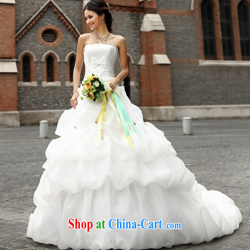 Qi wei summer wedding dresses new 2015 erase chest wedding band wedding Princess wedding tail wedding lace wedding trailing white tailored the $50