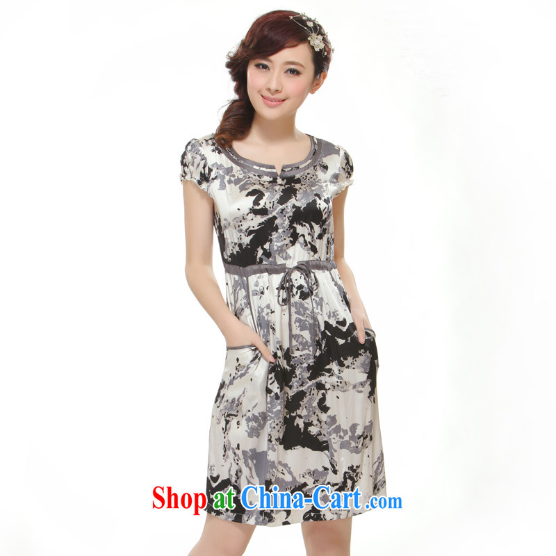 Slim li know summer 2015 new high-end heavy silk pocket, with improved modern cheongsam dress QR 512 gray XXL