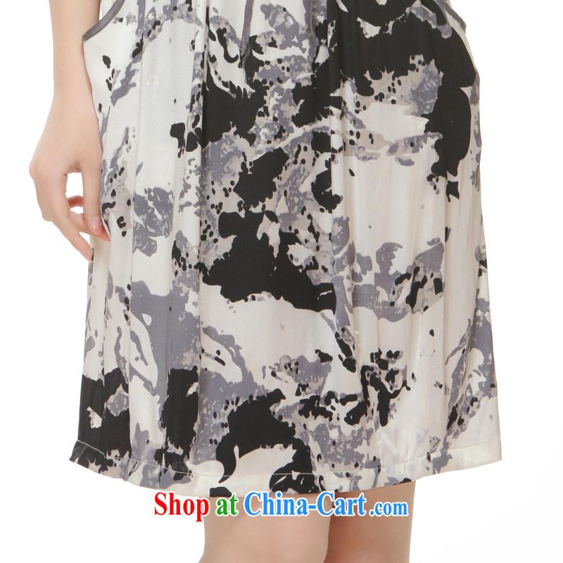 Slim li know summer 2015 new high-end heavy silk pocket, with improved modern cheongsam dress QR 512 gray XXL, slim Li (Q . LIZHI), online shopping