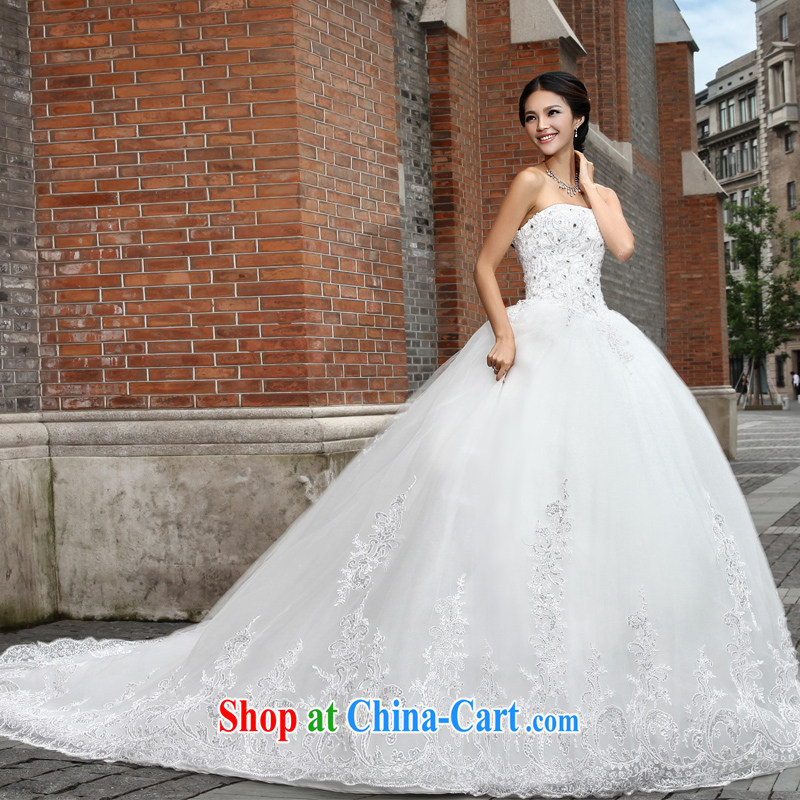 Wei Qi 2015 wedding dresses lace wedding erase chest wedding tail wedding tail bridal wedding wedding band wedding ivory white XL pre-sale 7 day shipping