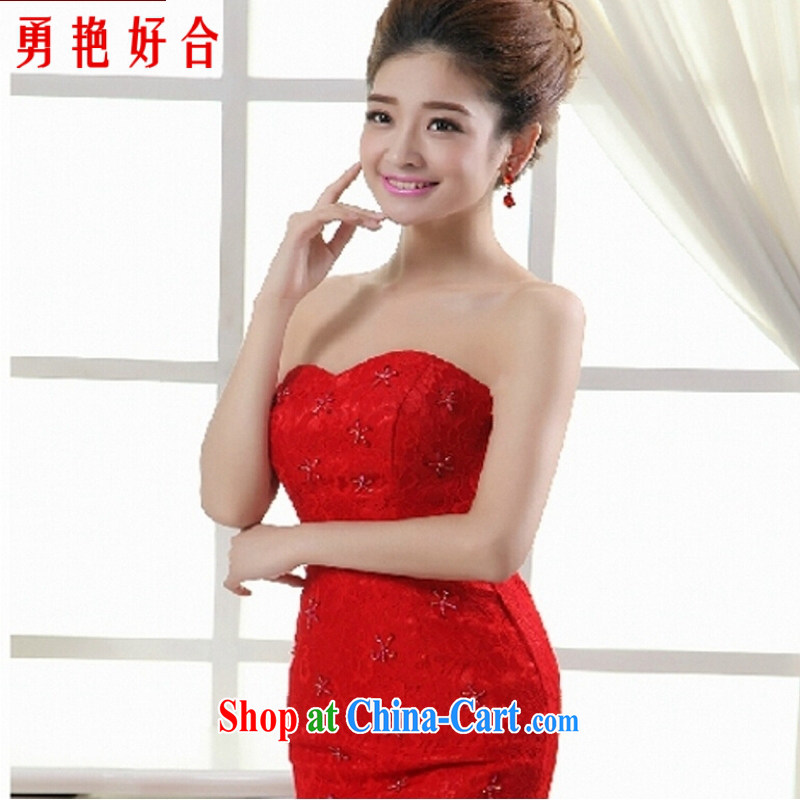 Yong-yan and 2015 new erase chest wedding dresses the waist at Merlion red lace bridal wedding dresses tied with red. size is not returned.