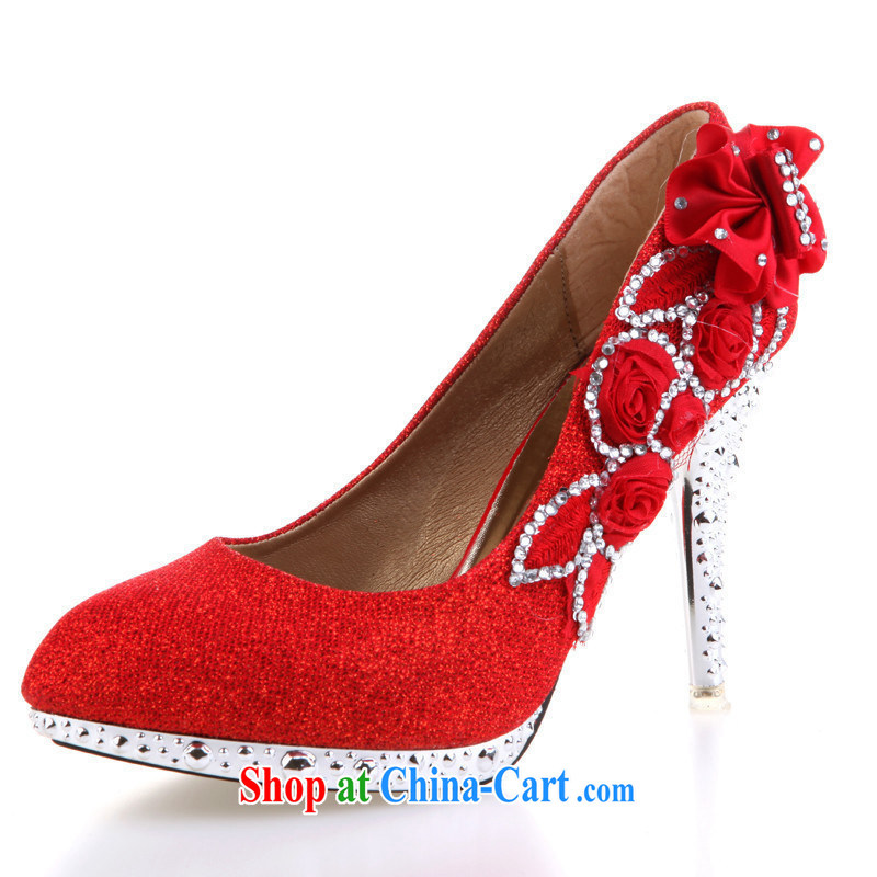 2015 wedding shoes Red Gold Silver bridal shoes bridal shoes high heel shoes HX 088 red 9