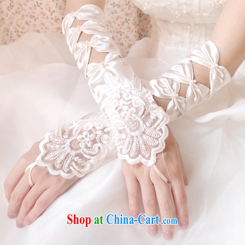 Popularity marriages 3 piece gloves wedding accessories Bow Tie lace no means stretch gloves white