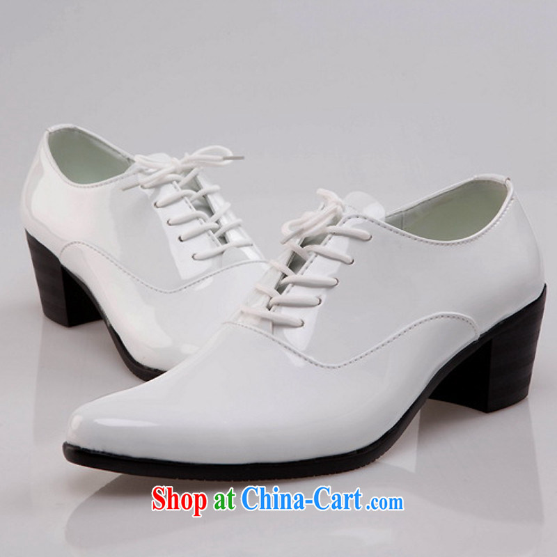 Pure White men's shoes, Leather Shoes Show chorus shoes dance shoes tie shoe increase shoes white 44