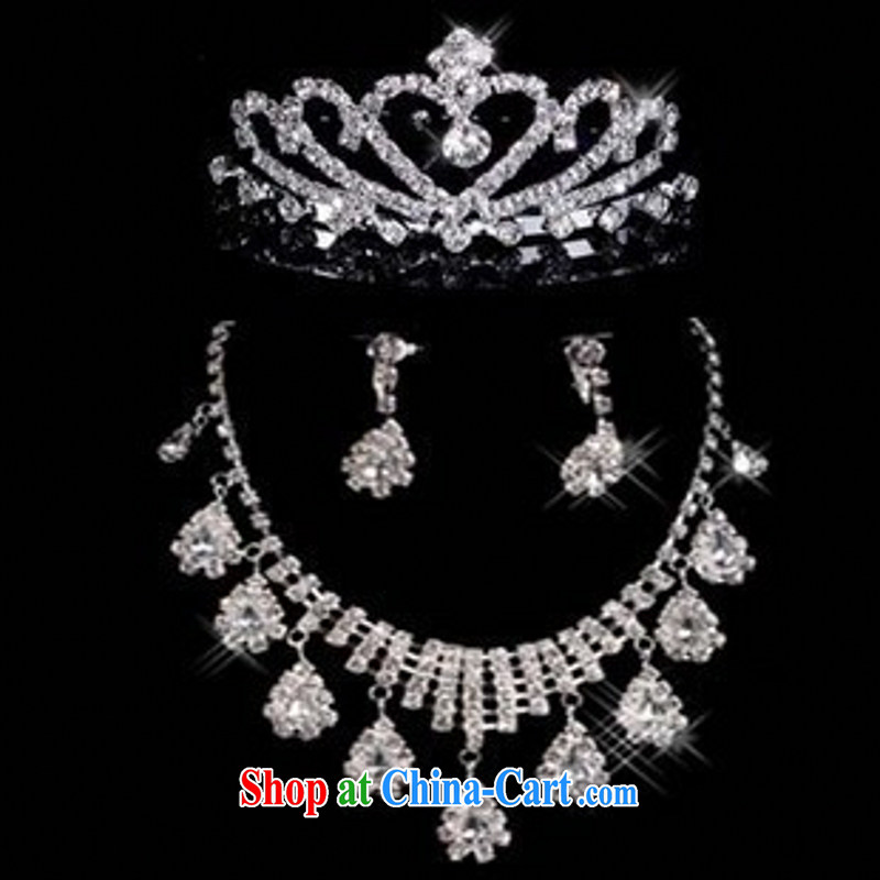 Bridal necklaces bridal Crown water drill Series Package bridal accessories 3 piece bridal jewelry white 3-piece set