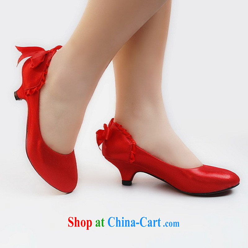 New wedding shoes 201 limited 88 double bridal shoes gold_red low with wedding shoes red 9