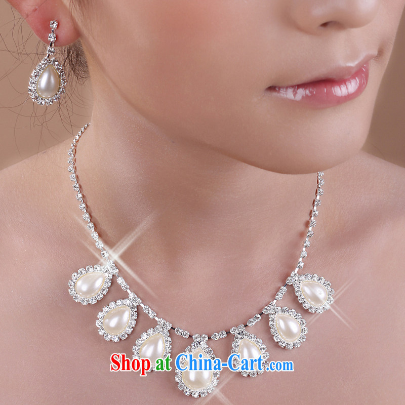 The United States, wedding dresses accessories jewelry pearl necklaces earrings bridal necklace jewelry jewelry two-piece E 217 white