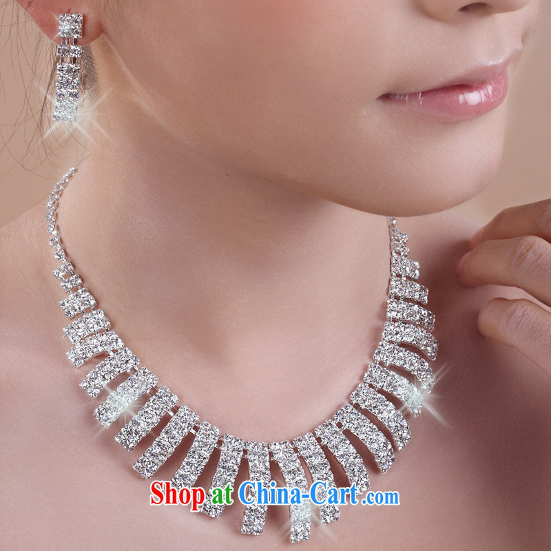 The United States, wedding dresses accessories Korean bridal necklace earrings Accessories Set marriage link bridesmaid water drilling jewelry E 011 white