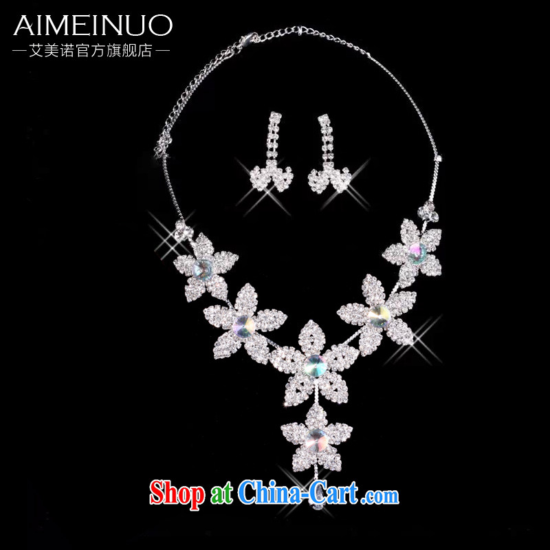 The United States, wedding dresses accessories bridal jewelry two-piece necklace bridal suite link earrings necklace set with Korean-style wedding jewelry e 006