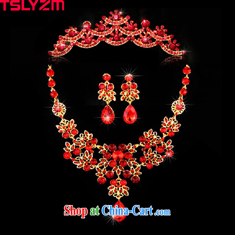 2015 red water drilling bridal wedding jewelry Korean crown 3 piece chain dress with jewelry bridal wedding accessories wedding accessories