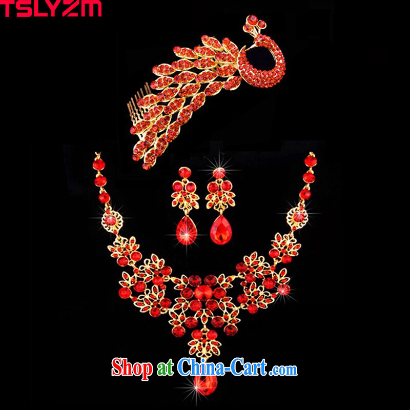 bird feathers 2015 red water drilling bridal Crown wedding jewelry and accessories 3 piece set dress and jewelry, wedding wedding accessories and ornaments accessories Phoenix