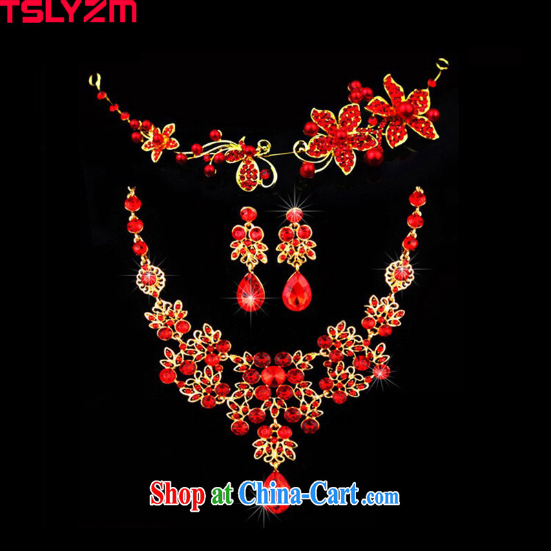 2015 Tslyzm Korean New retro butterfly flash drill bridal headdress, jewelry accessories necklace earrings 3 piece bridal wedding jewelry