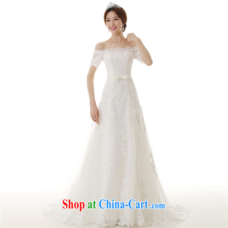 2015 spring and summer New Field shoulder collar A Field crowsfoot wedding dresses Korean beauty and simple A field dress with small tail bridal wedding white S