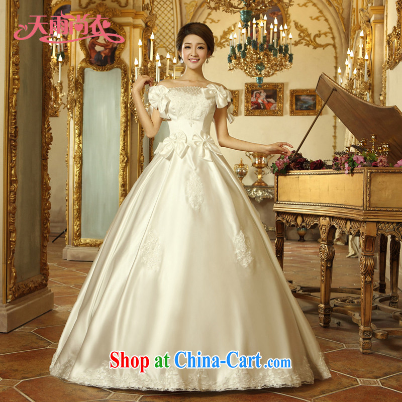 Rain was Yi marriages 2015 new dress stylish Pearl lace bridal double shoulder strap wedding HS 923 white M
