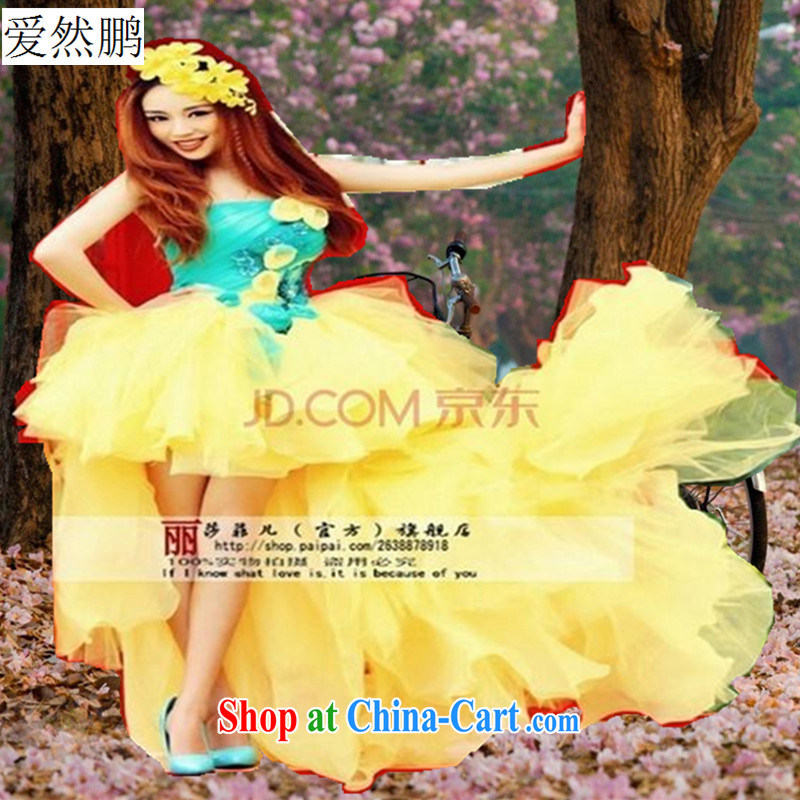 Summer 2014 new special topics for couples wedding dresses photo building a photo wedding couples theme clothing yellow customer size will not be returned.