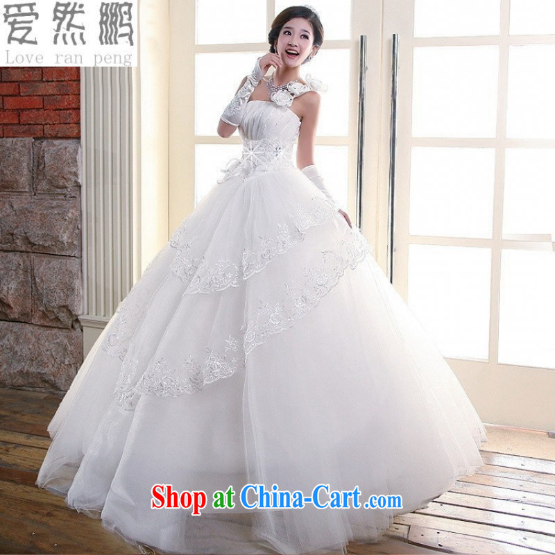 Love so Peng 2014 new wedding Korean-style single shoulder flowers Royal Princess sweet summer stylish wedding dresses customer size will not be returned.
