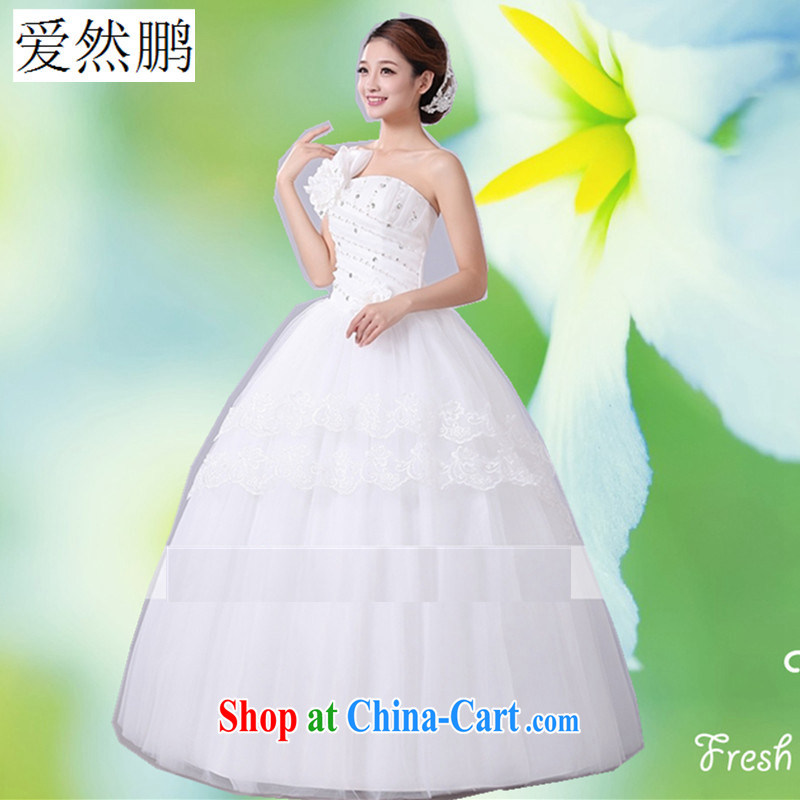 Spring new wedding dresses 2015 Korean sweet Princess single shoulder strap with flowers with strap wedding customer size will not be returned.