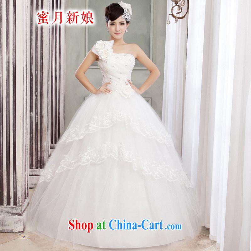 Honeymoon bridal wedding dresses 2015 Korean sweet Princess single shoulder strap with flowers with wedding shaggy strap wedding white XS