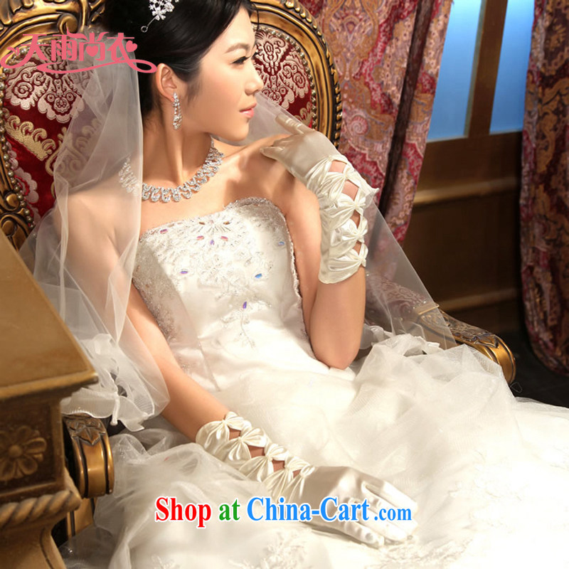 Rain is still clothing bridal wedding dresses wedding gloves Long Satin bowtie white gloves ST 020 meters white