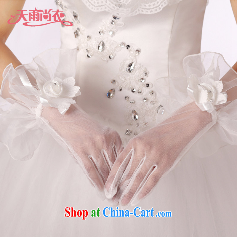 Rain is still Yi New marriages short yarn gloves dress wedding gloves white package the gloves ST 033 meters white
