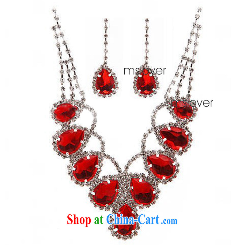 drunk MSLover proverbial hero flash crystal alloy bridal necklace earrings set bridal wedding jewelry wedding accessories S 130,811 red necklace earrings 2-piece set (ear clip)