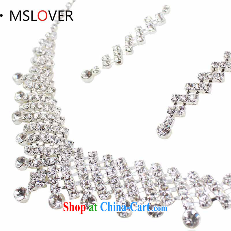 MSLover heart-crystal bridal Crown Kit link marriage jewelry wedding accessories set necklace earrings set S 130,801 silver necklace earrings 2-piece set (ear clip)