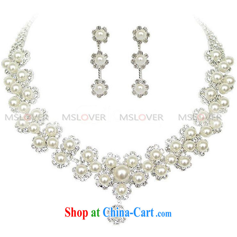 MSLover super stars elegant Pearl alloy bridal suite chain necklace earrings wedding jewelry wedding accessories kit S 130,803 pearl necklaces, earrings 2 Piece Set _CLIPS_