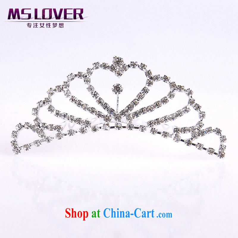 MSlover flower dress accessories water drilling children Crown headdress Korean Princess hair accessories with the comb small Crown SP1050 silver