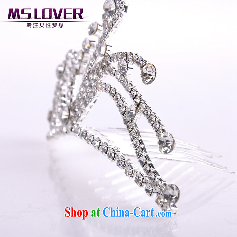 MSlover flower accessories water drilling children Crown headdress Korean Princess hair accessories children's performances and the comb small Crown SP 1048 silver