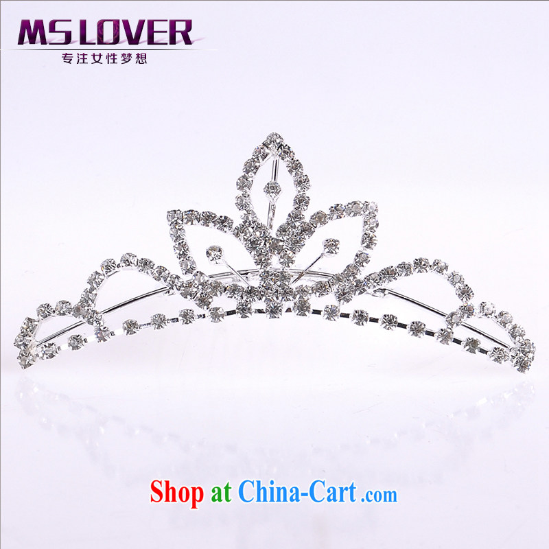 MSlover flower accessories water drilling children Crown headdress Korean Princess hair accessories children's performances and the comb small Crown SP 1040 silver