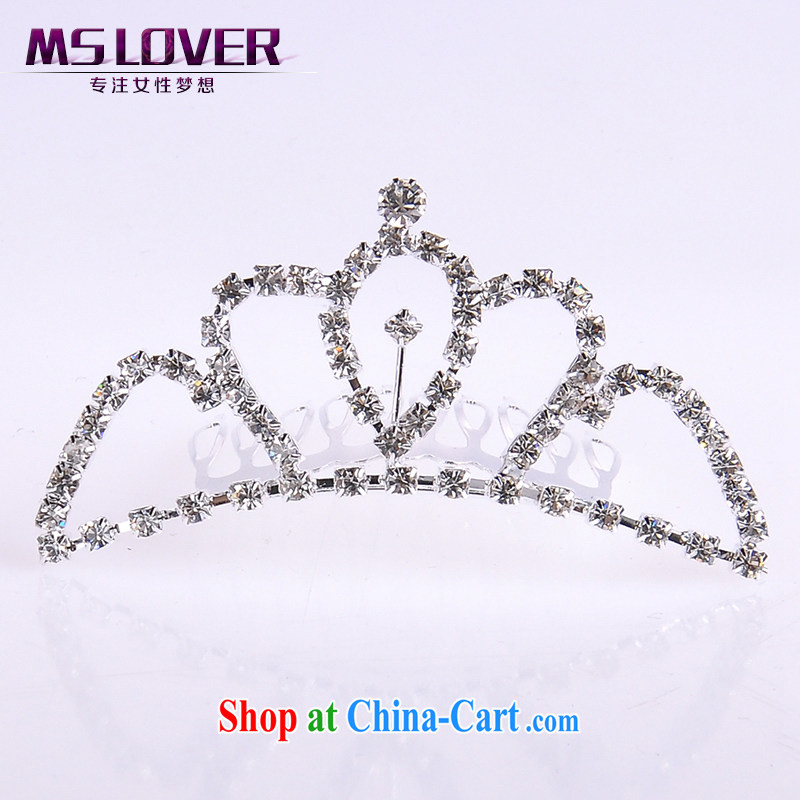 MSlover flower accessories water drilling children Crown headdress Korean Princess hair accessories children's performances and the comb small Crown SP 1039 silver
