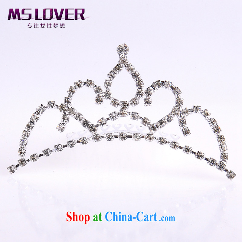 MSlover flower accessories water drilling children Crown headdress Korean Princess hair accessories children's performances and the comb small Crown SP 1038 silver