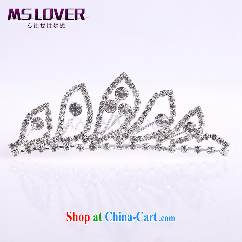 MSlover flower accessories water drilling children Princess crown and ornaments ornaments children's performances and the comb small Crown S 130,802 silver