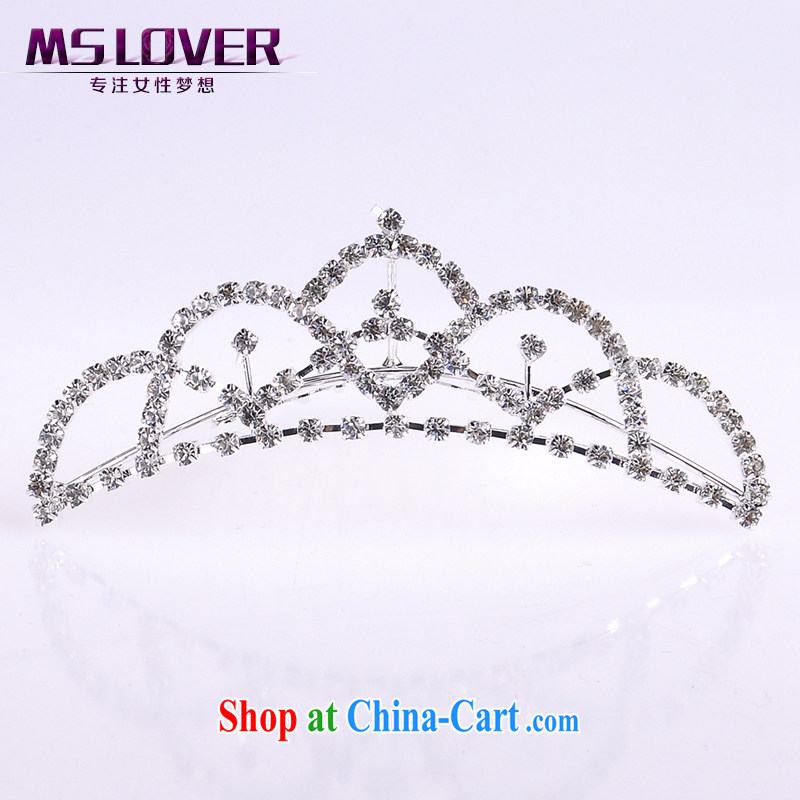 MSlover flower accessories water drilling children Crown headdress Korean Princess hair accessories children's performances and the comb small Crown SP 1034 silver