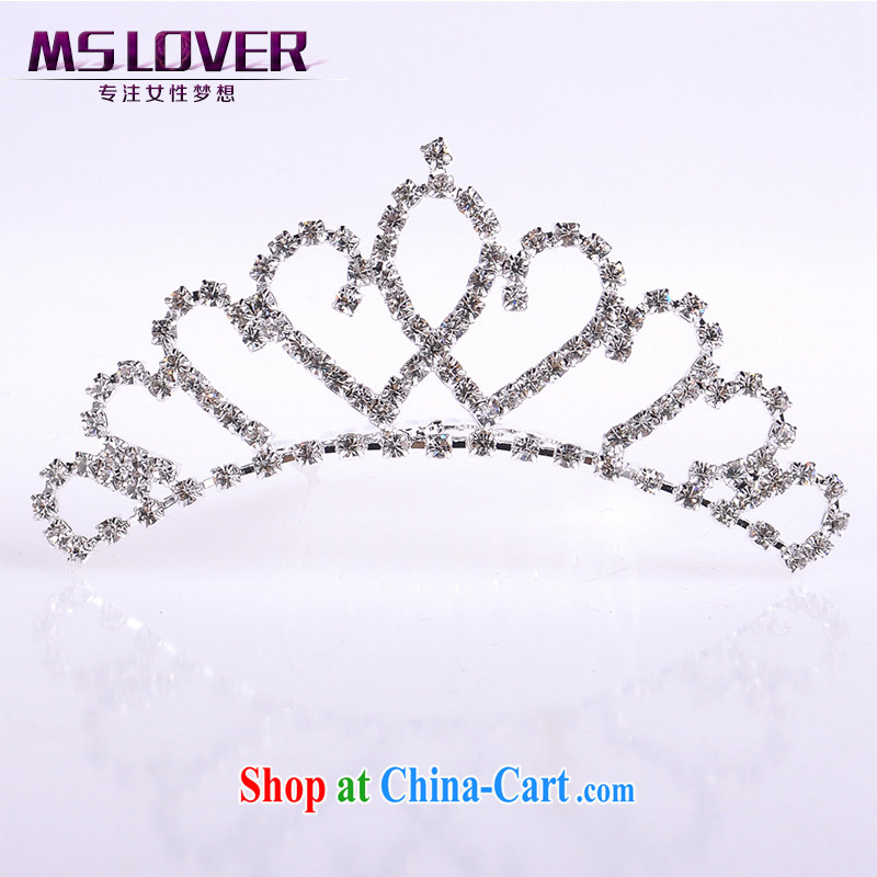 MSlover heart-flower with water drilling children Crown headdress Korean Princess band performances and the comb small Crown SP 1029 silver