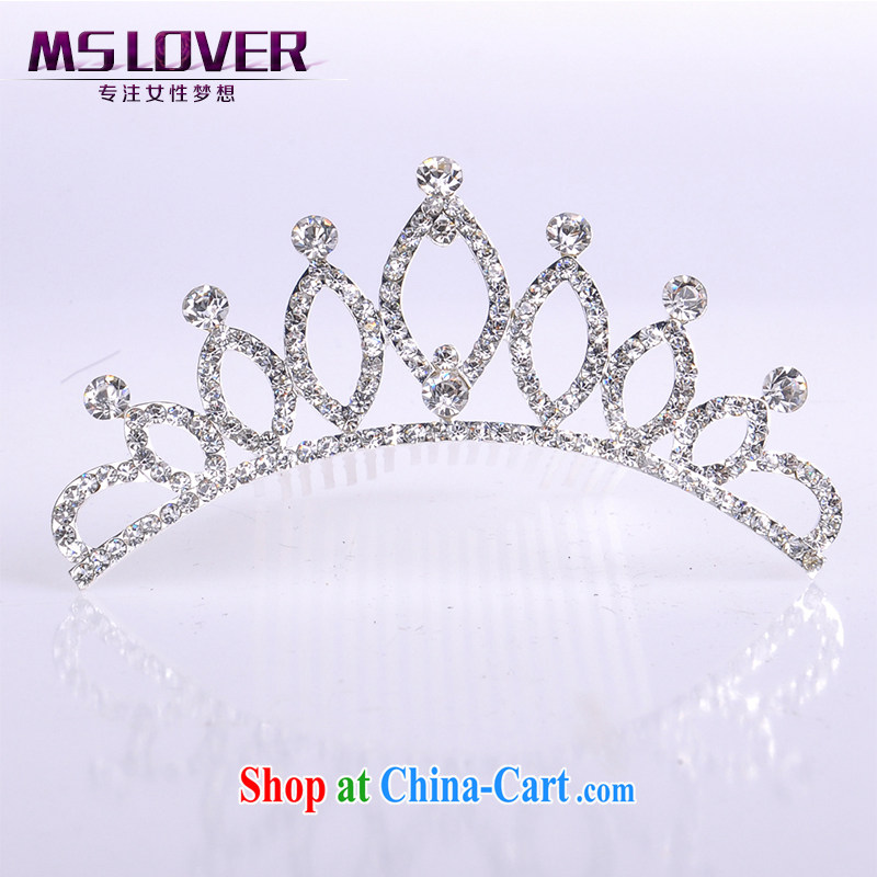 MSlover flower accessories water drilling children Crown headdress Korean Princess hair accessories children's performances and the comb small Crown SP 0093 silver