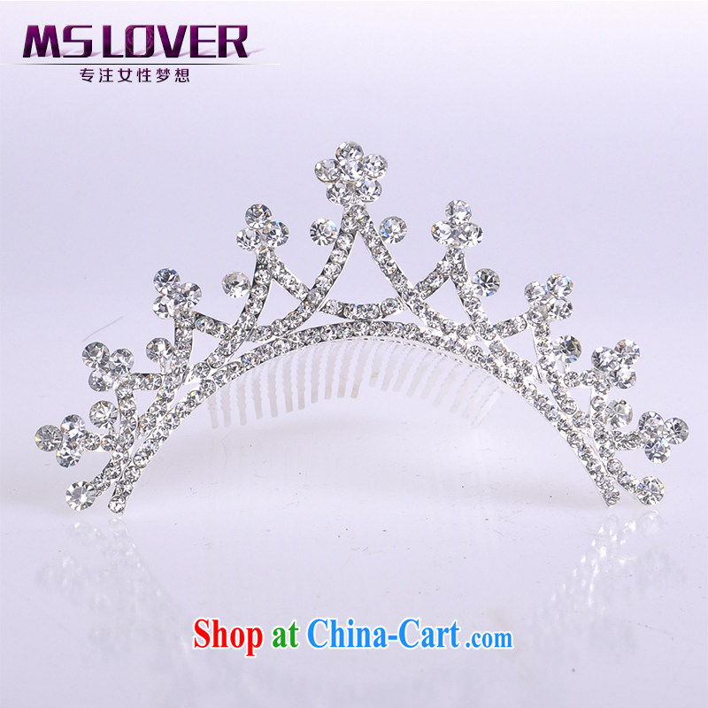 MSlover flower accessories water drilling children Crown headdress Korean Princess hair accessories children's performances and the comb small Crown SP 0091 silver